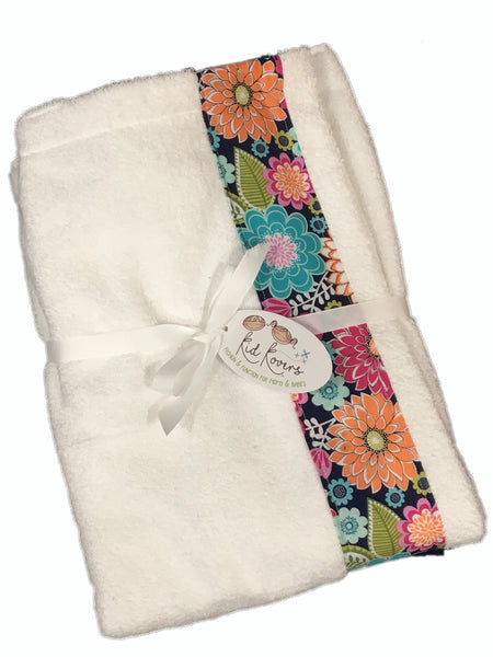 Emma floral White Towel Wrap, Personalization available