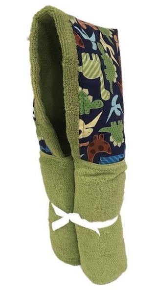 Jurassic Dinosaur Lime Hooded Towel