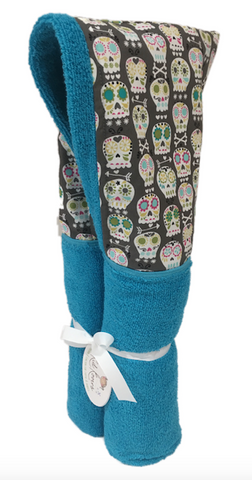Sugar Skulls Aqua Hooded Towel