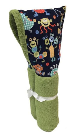 Cute Monsters Lime Hooded Towel