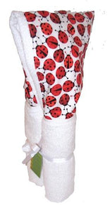 Red Ladybugs White Hooded Towel