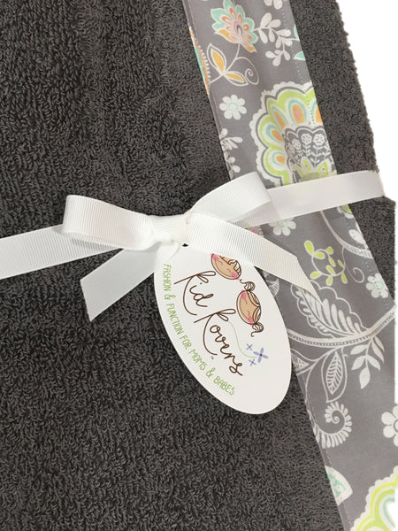 Jolie pastel paisley floral Charcoal Towel Wrap, Personalization available