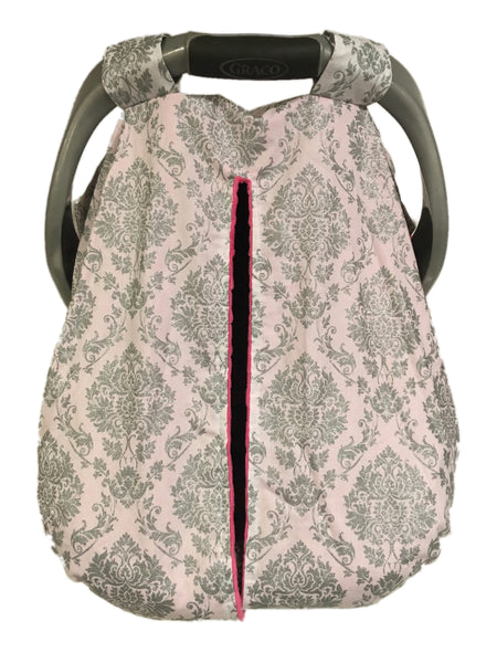 Silver Damask Car Seat Kover with Fuchsia Minky Interior