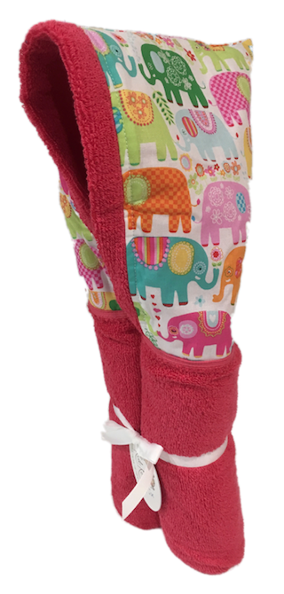 Happy Elephant girls Carnival Pink Hooded Towel