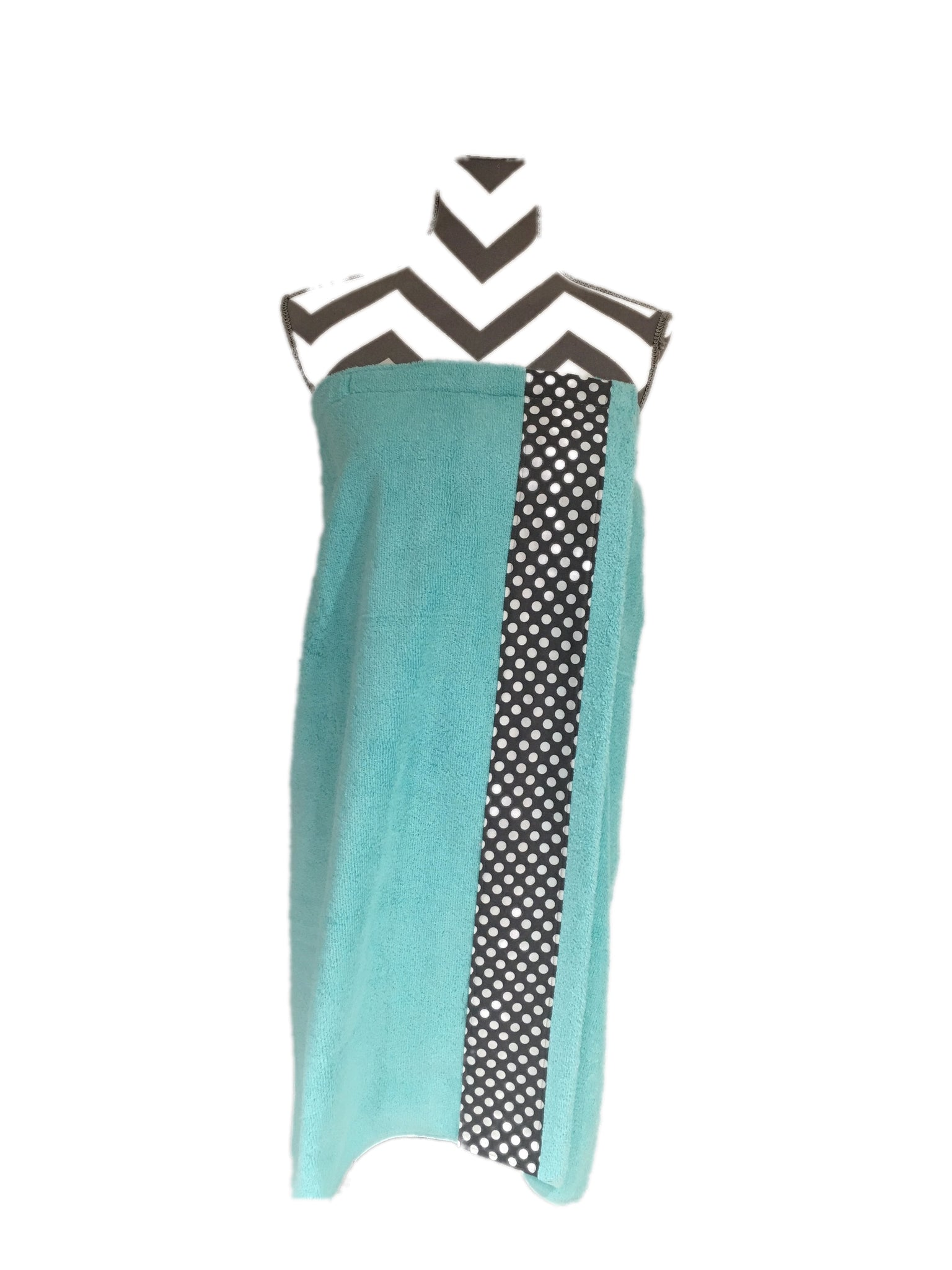 Charcoal and White Ta Dot Tiffany Aqua Towel Wrap