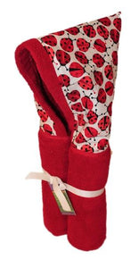 Red Ladybugs Red Hooded Towel