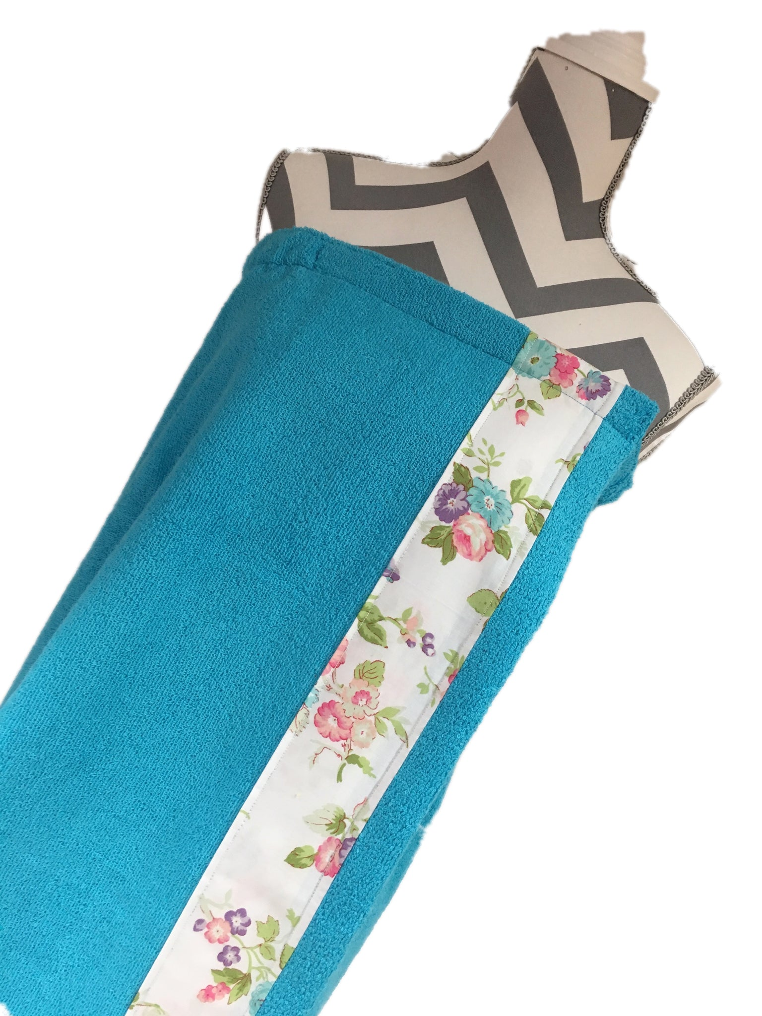 Karen's Garden Aqua Teal Towel Wrap, Personalization available