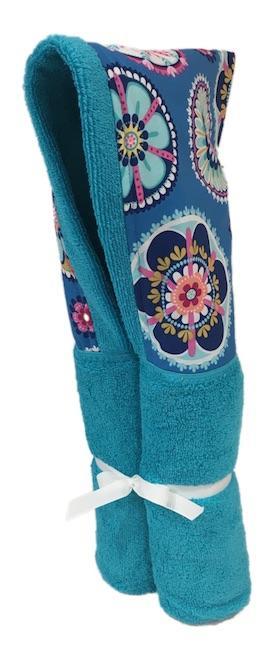 La Dee Da Blue Aqua Hooded Towel