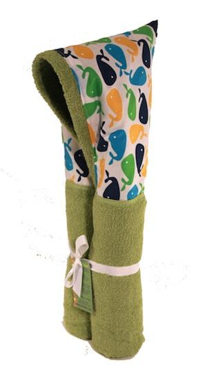 Whale Lime Hooded Towel