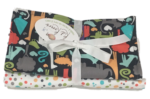 "Animal World and Nature Dot. Set of 3 Burp Cloths. 10x20"" absorbent cotton Terry cloth."