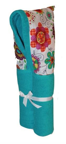 Patterned Petals Aqua Hooded Towel