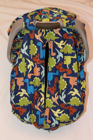 Jurassic Dino Car Seat Kover with Sky Blue Minky Interior