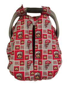 Ohio State Car Seat Kover with Red Minky Interior