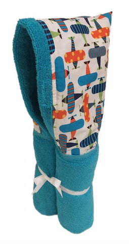 Airplane Aqua Hooded Towel