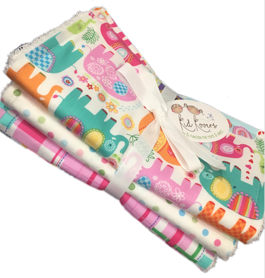 "Pink Happy Elephant, pastel dot, and Madras, Set of 3 Burp Cloths, 10x20"" absorbent cotton Terry cloth."