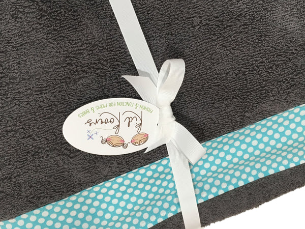 Aqua Dot and Charcoal Grey Towel Wrap, Personalization available