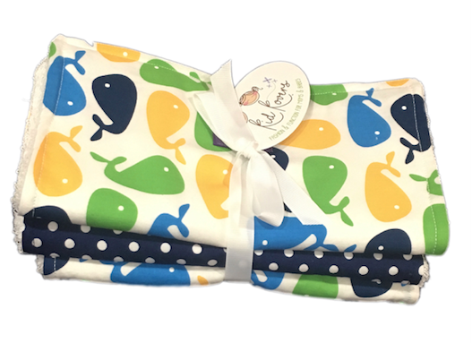 Whales, Surf Boards, & Stripes. Set of 3 Burp Cloths
