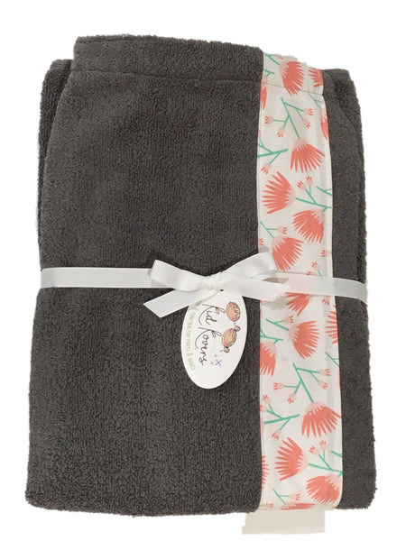 Tumbling Blooms Coral and Charcoal Grey Towel Wrap, Personalization available
