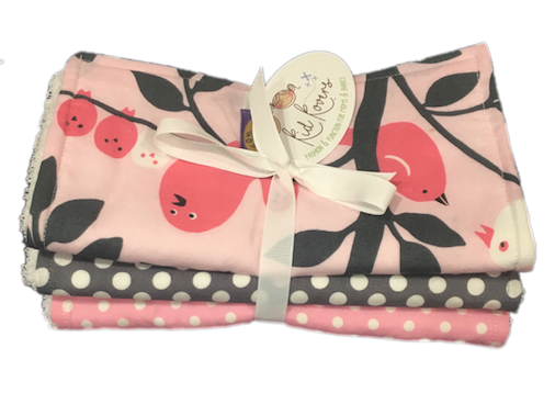 "Pink Tweetie Pie, Grey & Pink Dot. Set of 3 Burp Cloths. 10x20"" absorbent cotton Terry cloth."