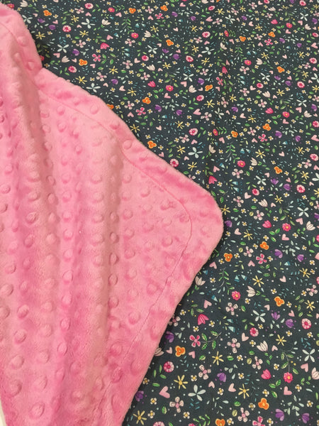 Bitty Blooms Grey on Pink Minky Baby Blanket
