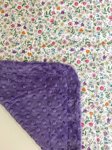 White Bitty Bloom on Lavender Minky, Baby Blanket