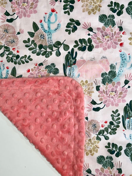 Cactus Flower on Coral Minky, Baby Blanket