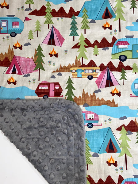 Camping on Charcoal Minky, Baby Blanket