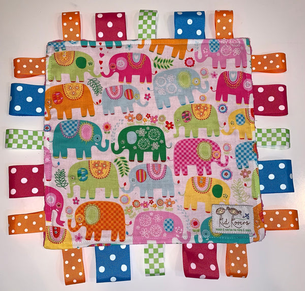 Fuchsia Crazy Elephants Taggie Blanket