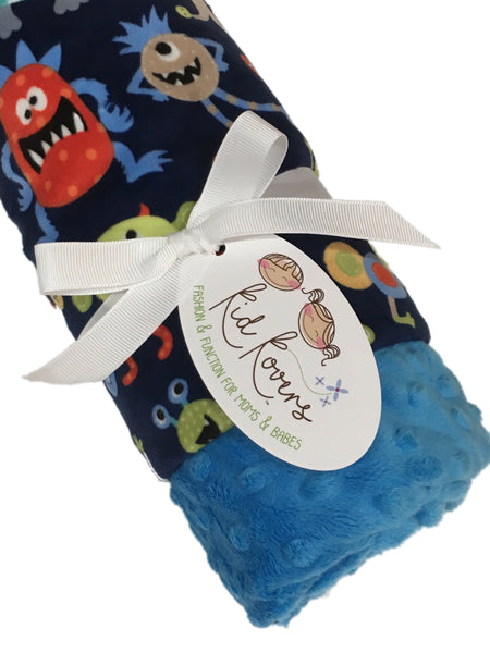 Cute Monsters Aqua Minky Baby Blanket