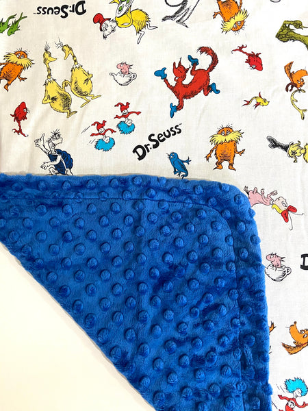 Dr.Seuss on Azure Minky, Baby Blanket