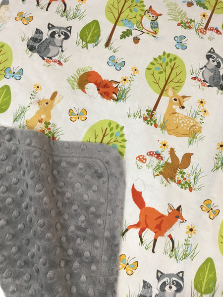 Woodland Creatures Charcoal Minky Baby Blanket