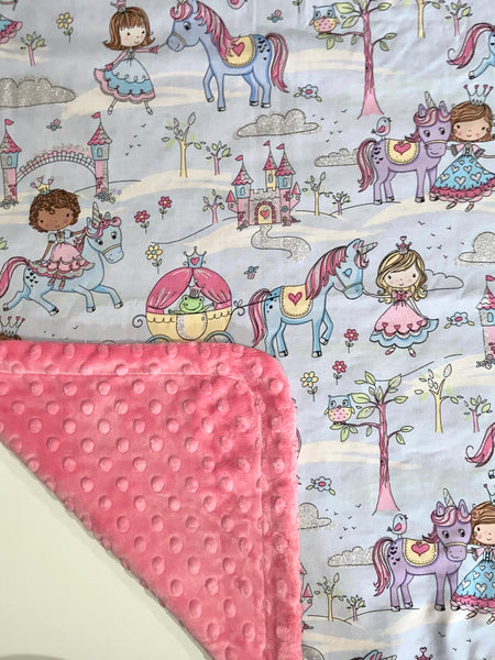 Glitter Princess on Pink Minky, Baby Blanket