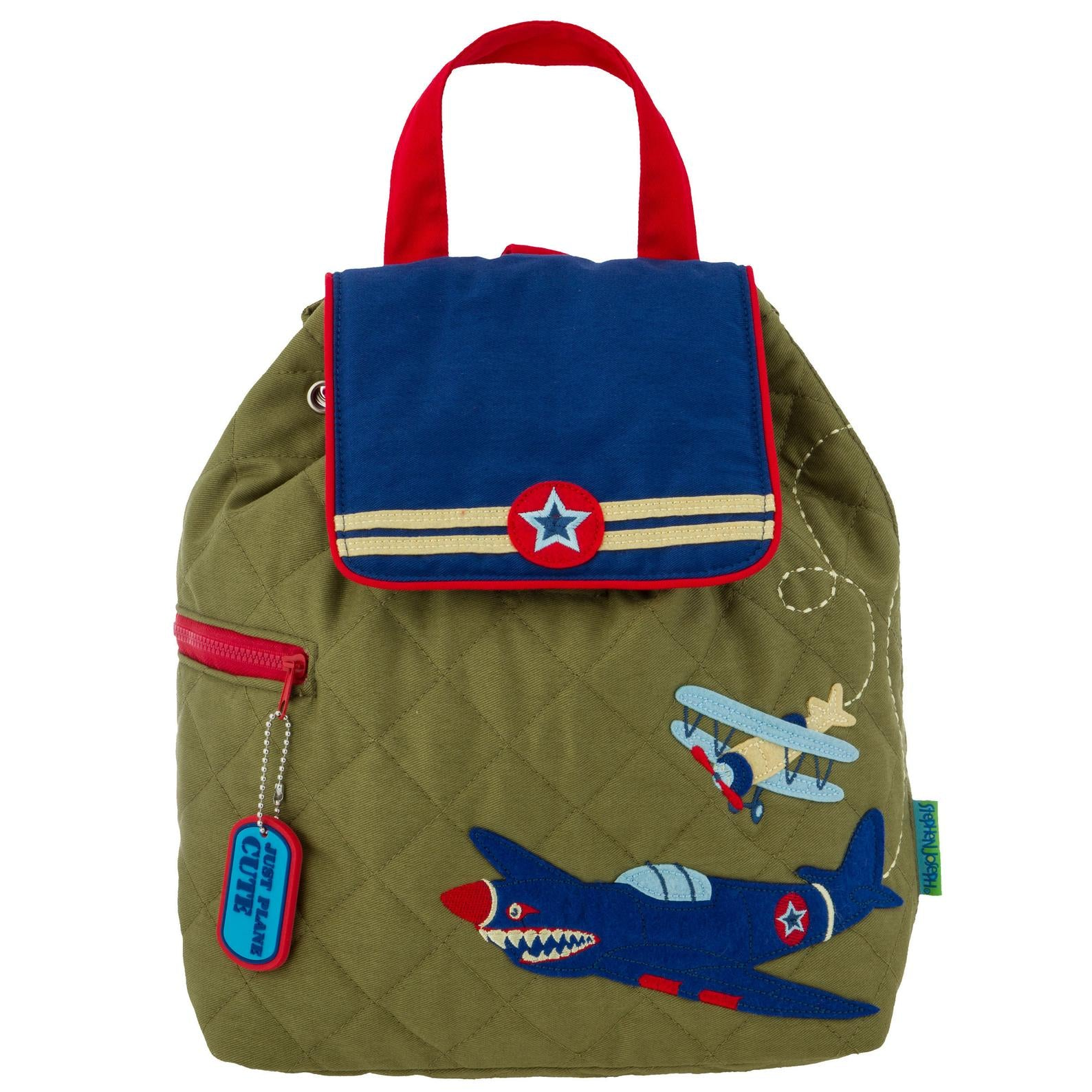 Planes Green Quilted Backpack