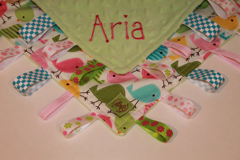 Cute birds on lime minky taggie blanket
