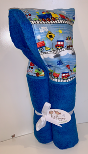 Trains in Route Azure Blue Hooded Towel