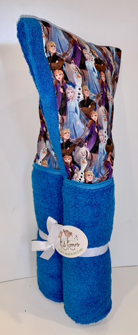 Azure Blue Frozen Hooded Towel with Anna, Elsa, Olaf and Christov