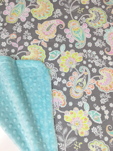 Jolie, pastel paisley flowers on Tiffany Blue Minky Baby Blanket