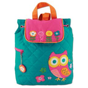 Turquoise Owl Quilted Backpack