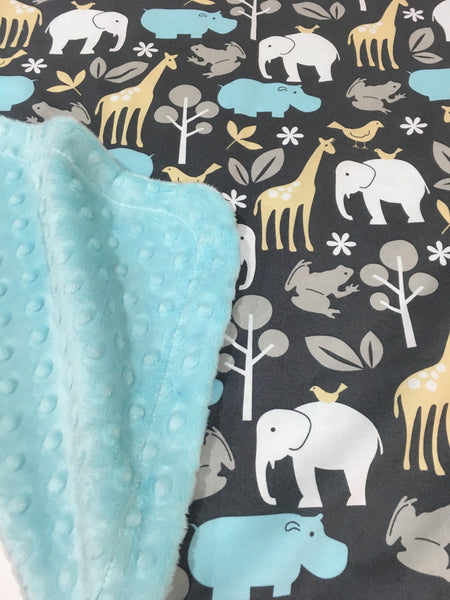 Sea Zoology on Sea Blue Minky Baby Blanket