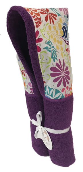 Splash Flowers Violet Hooded Towel