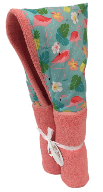 Flamingo Paradise Coral Hooded Towel