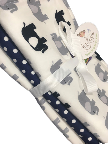"Navy and Grey Elephants and Navy Dot, Set of 3 Burp Cloths, 10x20"" absorbent cotton Terry cloth."