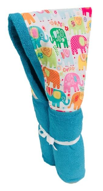 Happy Elephant Aqua Hooded Towel