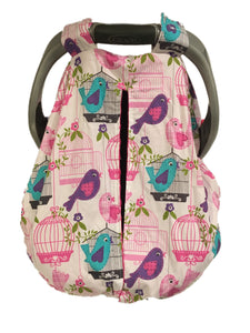 Bird Song Car Seat Kover with Fuchsia Minky Interior