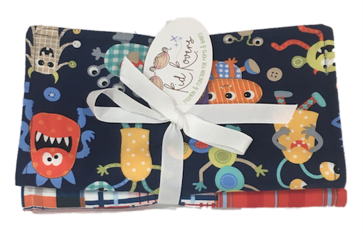"Cute Monsters and Madras, Set of 2 Burp Cloths, 10x20"" absorbent cotton Terry cloth."