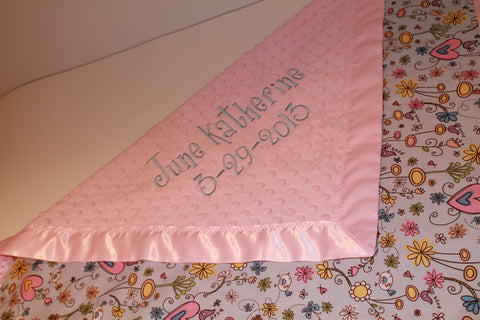Custom Baby Blanket WITH SATIN TRIM