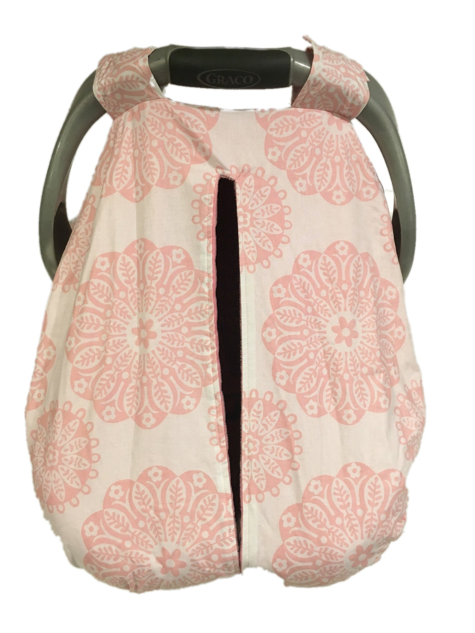 Pink Medallion Car Seat Kover with Pink Minky Interior