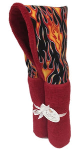 Flames Red Hooded Towel
