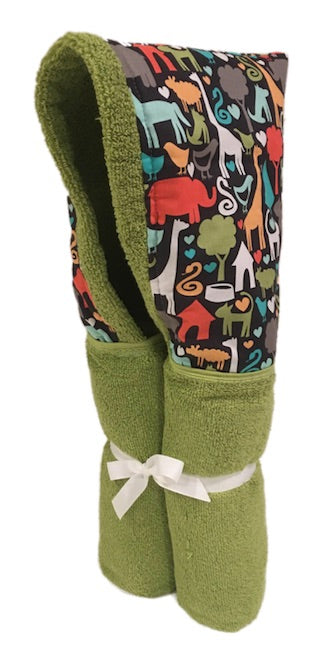 Animal World Lime Hooded Towel