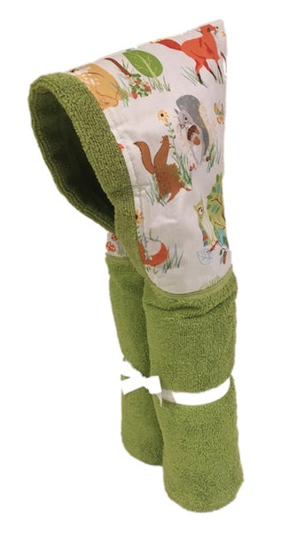 Woodland Animals Lime Hooded Towel